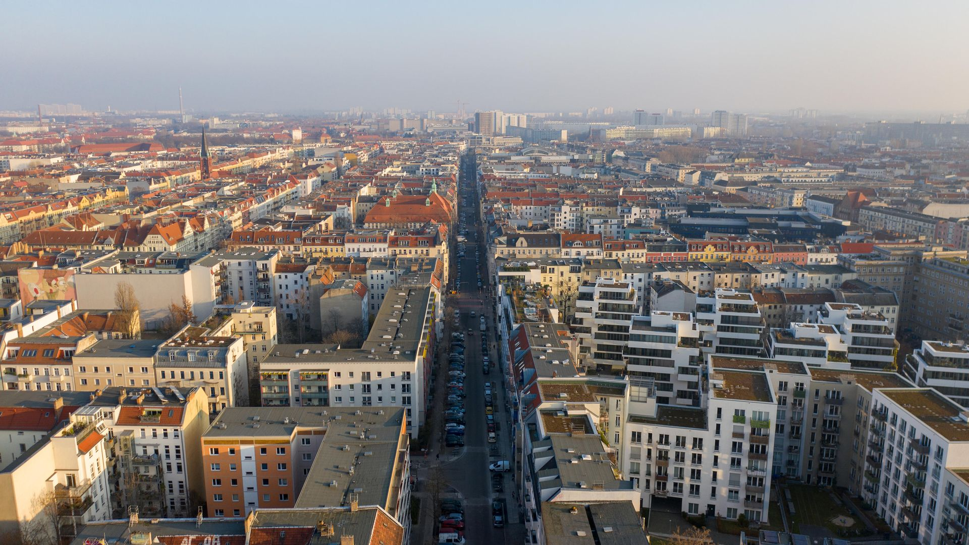 The Friedrichshain district of Berlin as seen from above, during the city's recent lockdown. The neighbourhood is considered one of the German capital's trendiest - Credit: Getty Images