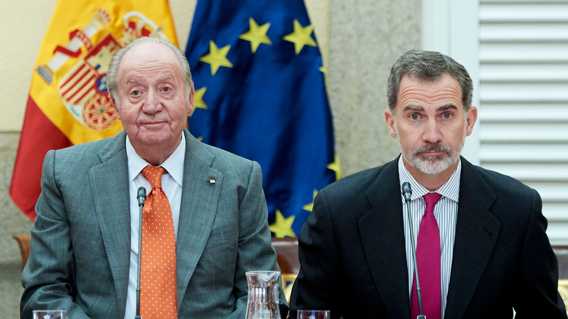 King Felipe VI of Spain (R) and King Juan Carlos (L) in May 2019 - Credit: Photo by Carlos Alvarez/Getty Images