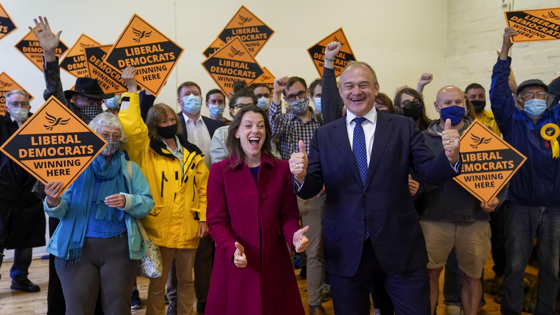 Liberal Democrat leader Ed Davey and new Liberal Democrat MP for Chesham and Amersham, Sarah Green, during a victory rally at Chesham Youth Centre - Credit: PA