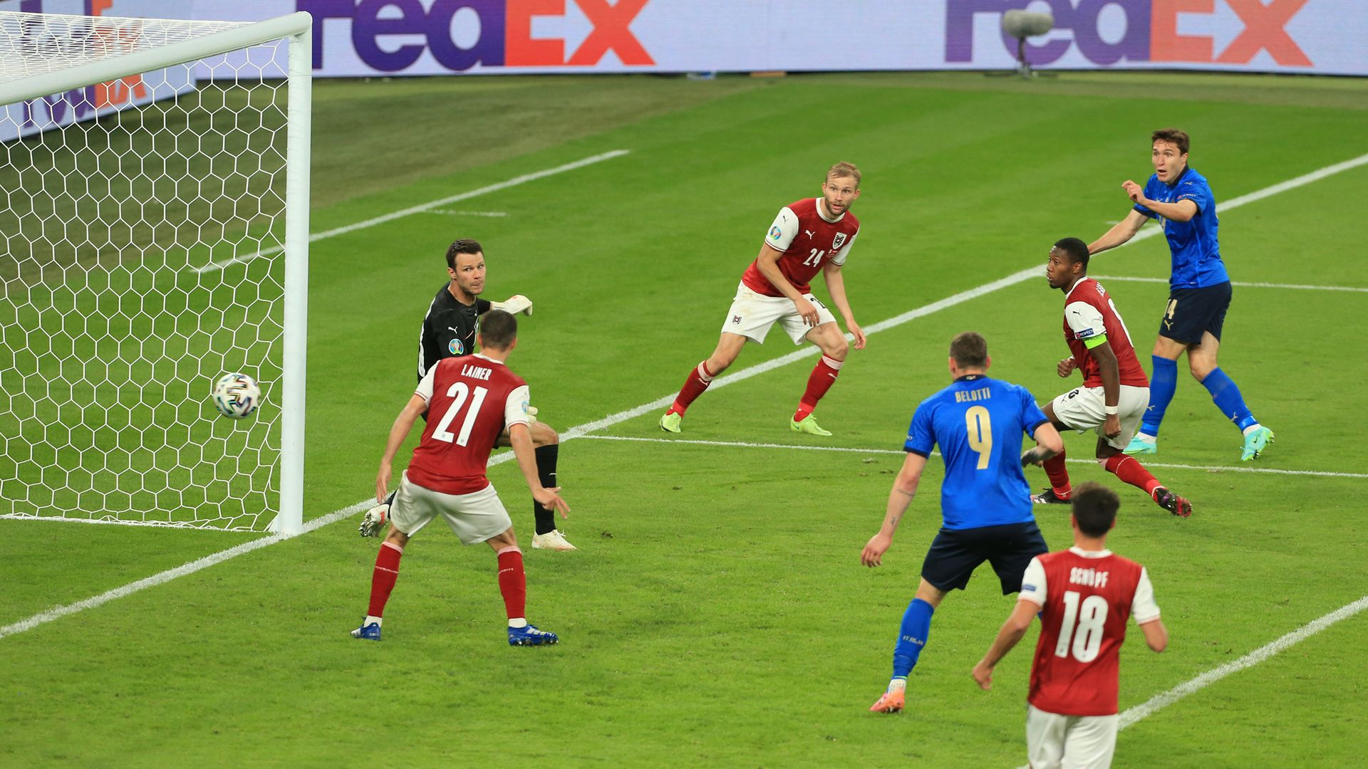 Federico Chiesa of Italy, far right, scores Italy's opening goal against Austria in their Euros round of 16 victory - Credit: Photo by Simon Stacpoole/Offside/Offside via Getty Images
