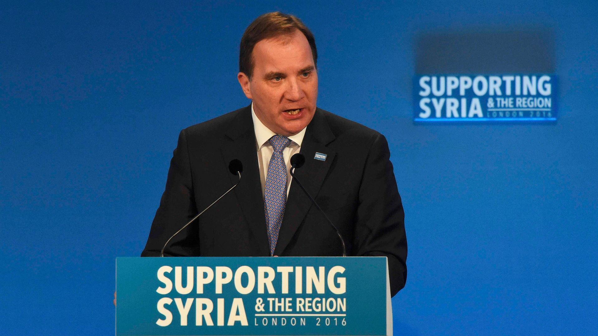 Sweden's Prime Minister Stefan Lofven during the 'Supporting Syria and the Region' conference at the Queen Elizabeth II Conference Centre in London. - Credit: PA