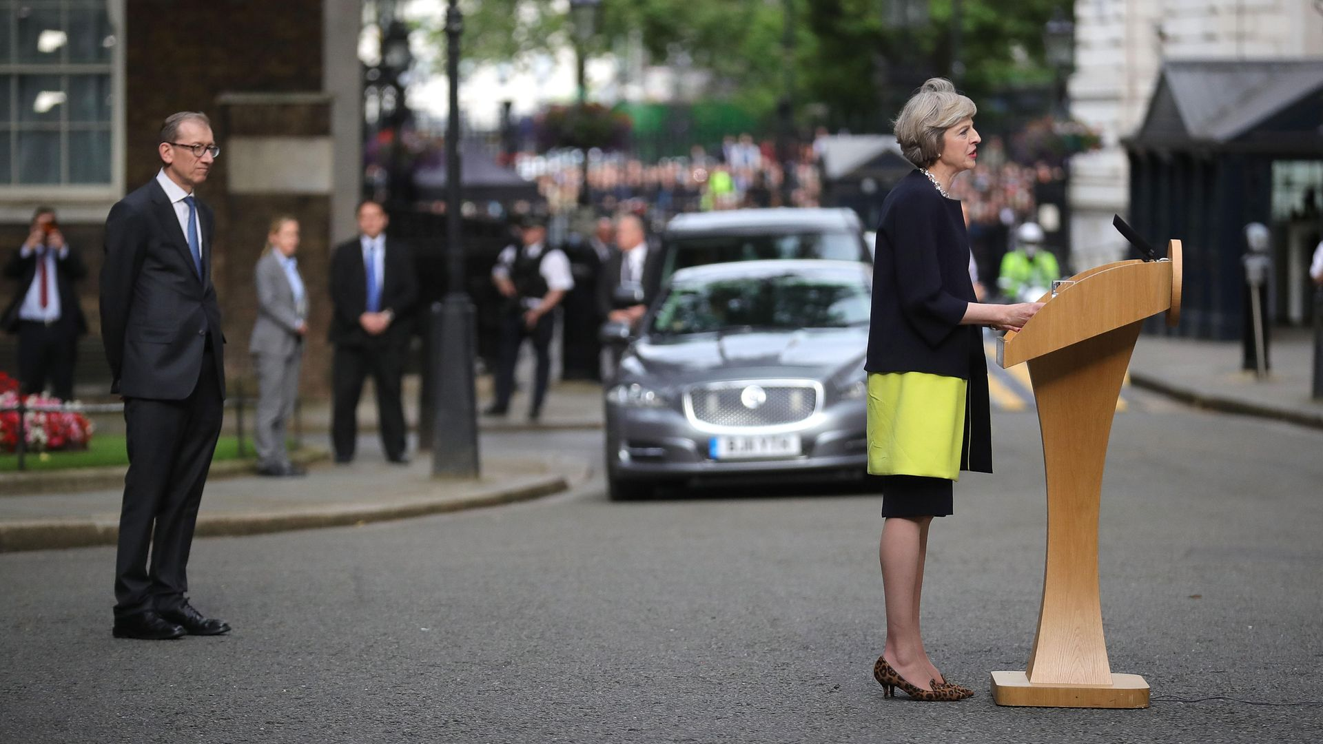 Theresa May, with husband Philip looking on, on the day she became prime minister, July 13, 2016 - Credit: Getty Images