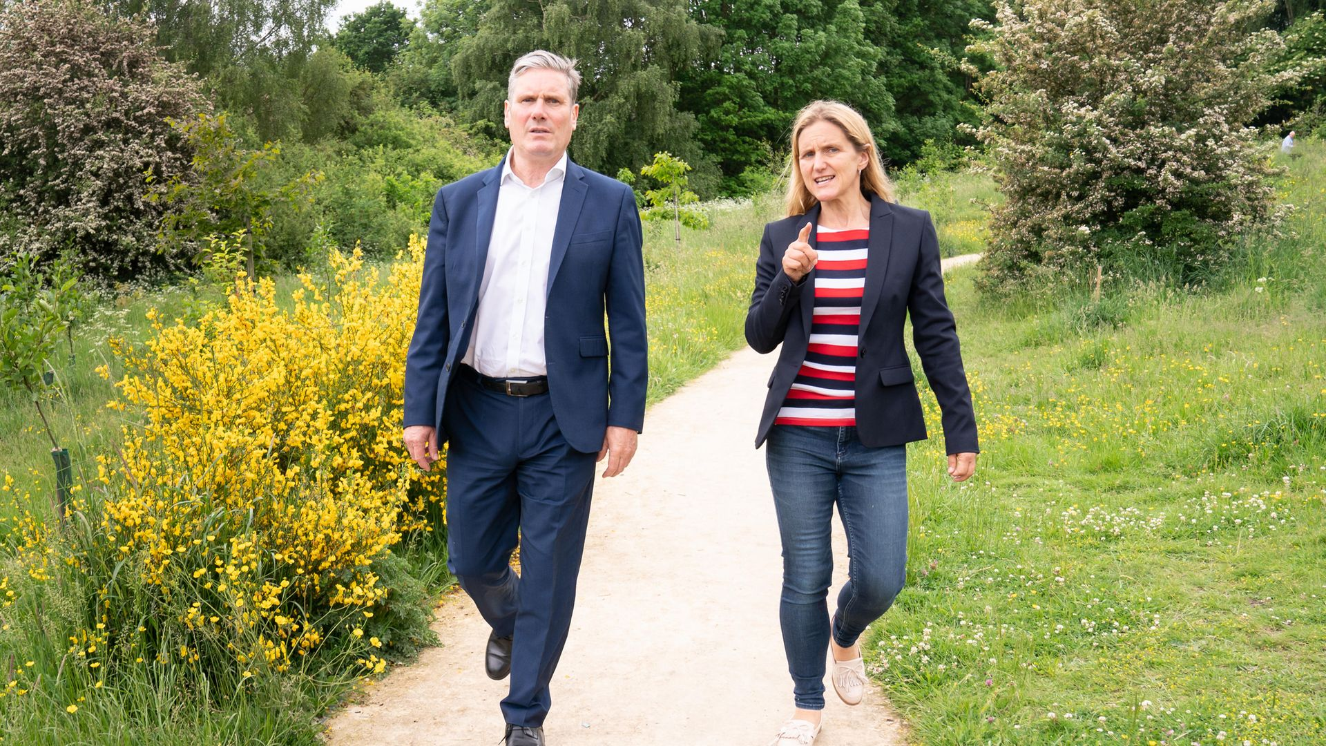 Labour Leader Keir Starmer and Labour candidate Kim Leadbeater during a visit to the Jo Cox Community Wood in Liversedge - Credit: PA