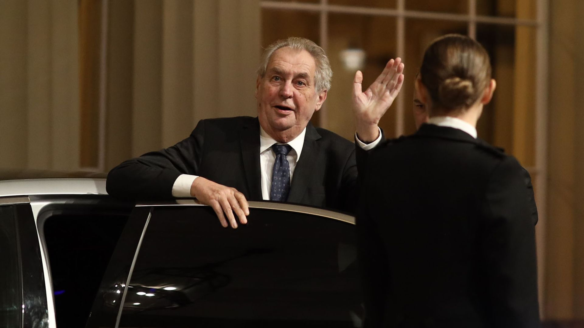 President of the Czech Republic Milos Zeman arriving for a reception at Buckingham Palace, London for Nato leaders to mark 70 years of the Nato alliance. - Credit: PA