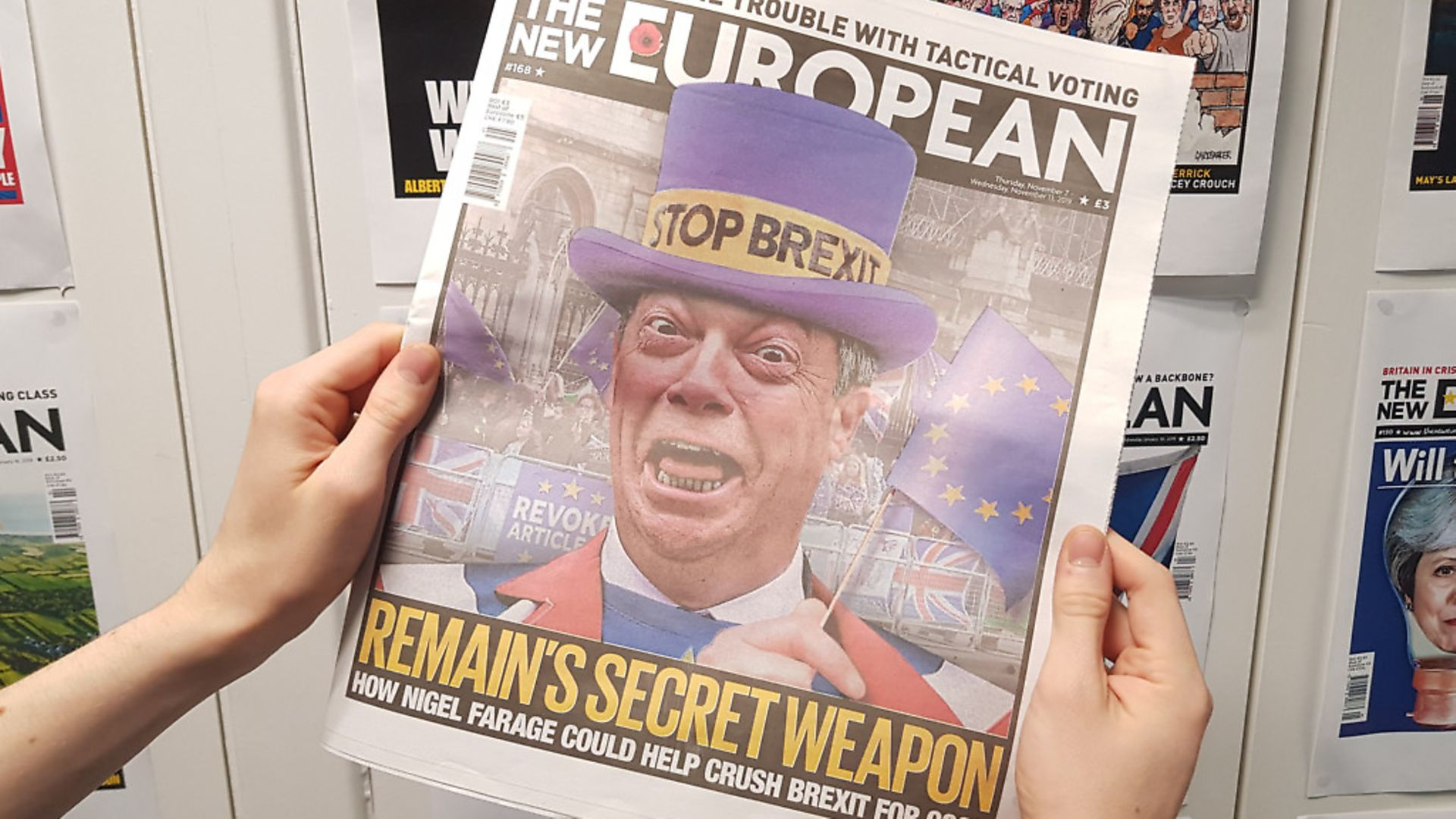 Remain's secret weapon? Nigel Farage pictured on the front of The New European. Photograph: Jonathon Read. - Credit: Archant