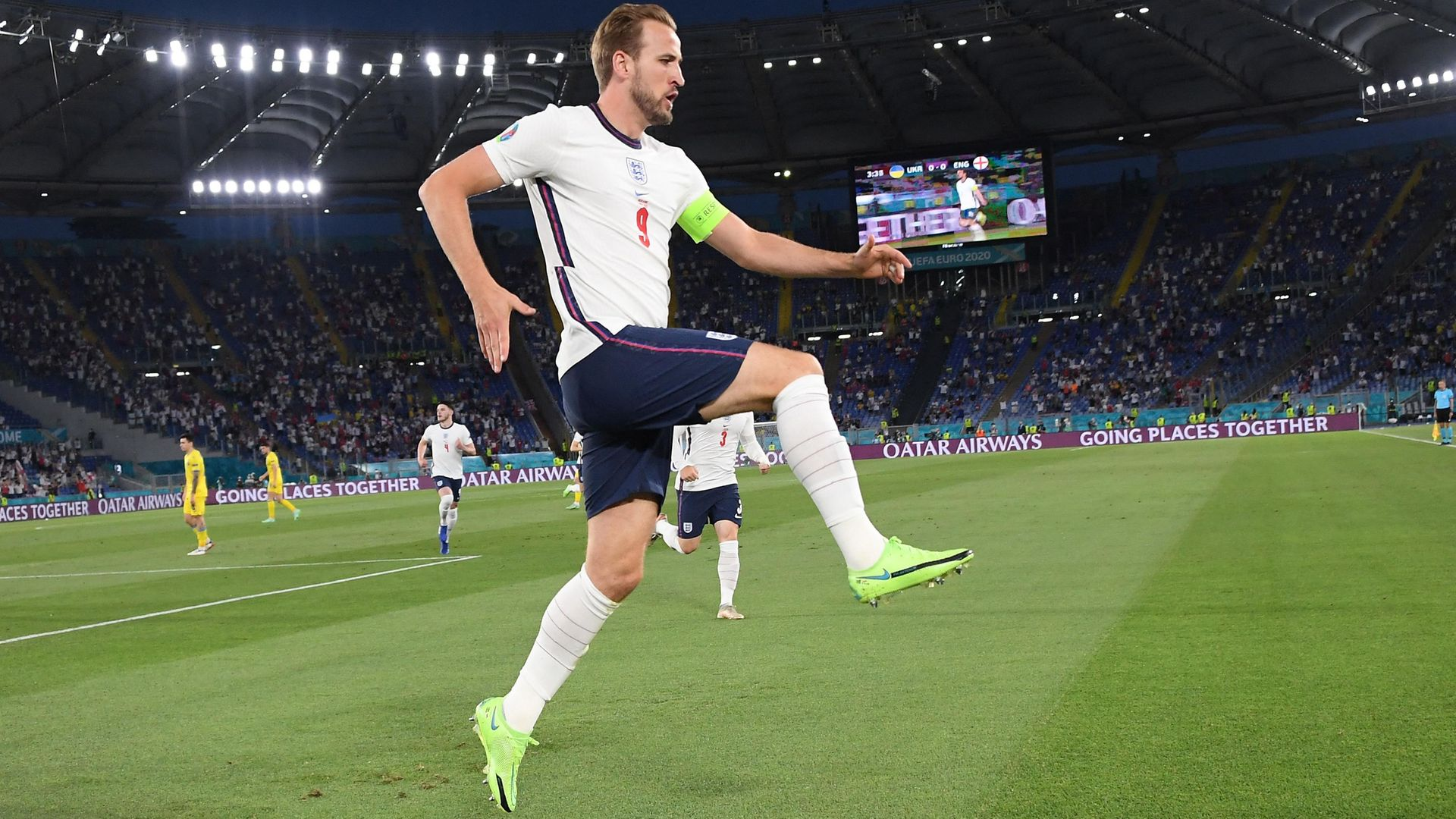Harry Kane celebrates after scoring the first goal during England's 4-0 victory over Ukraine in Rome's Olympic Stadium - Credit: POOL/AFP via Getty Images
