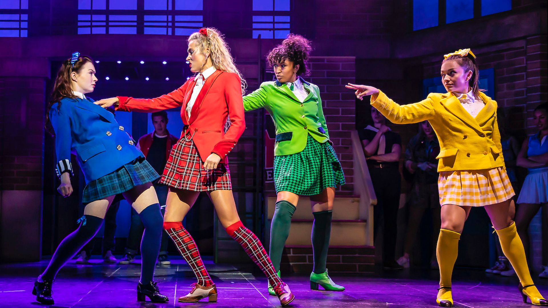 From left: Christina Bennington, Jodie Steele, Bobbie Little and Frances Mayli McCann in Heathers The Musical - Credit: Pamela Raith