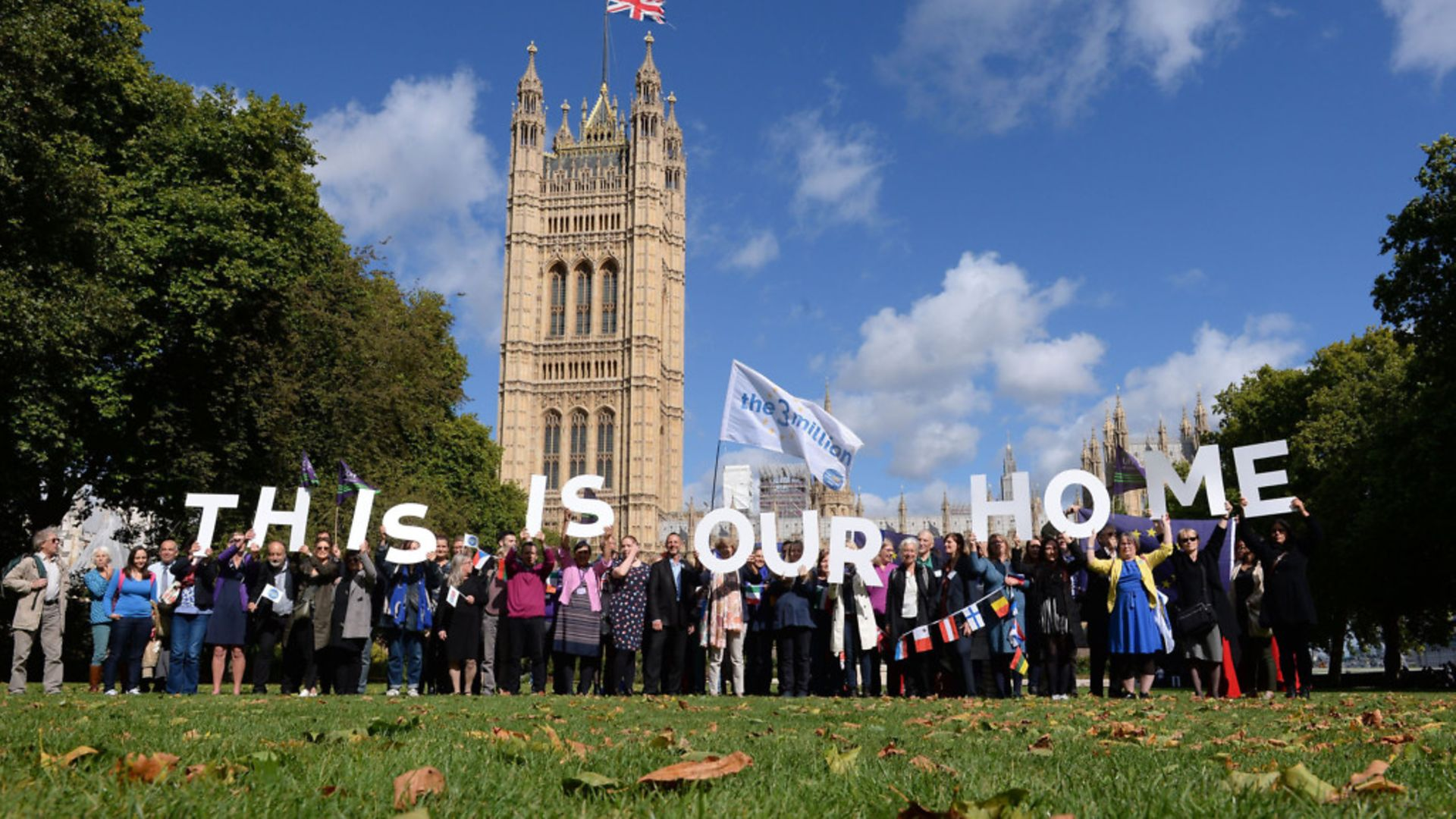 EU citizens in Victoria Tower Gardens in Westminster in 2017, lobbying MPs over post-Brexit rights in the UK. - Credit: PA Archive/PA Images