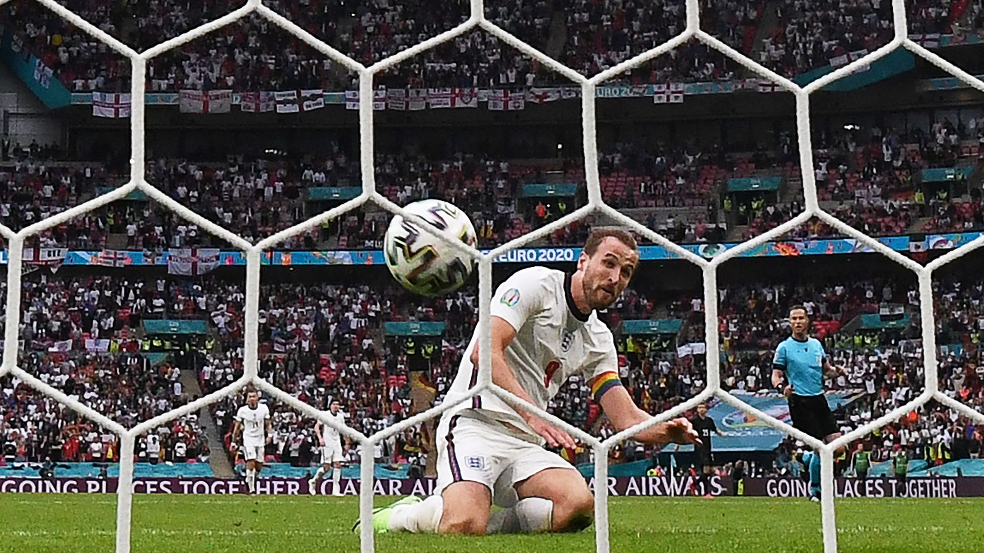 Harry Kane scores England's second goal against Germany at Wembley - Credit: AFP via Getty Images