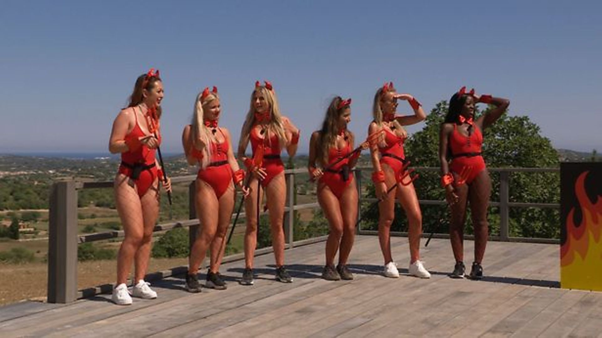 Contestants on this year's Love Island - with Shannon Singh third from the right. - Credit: ITV