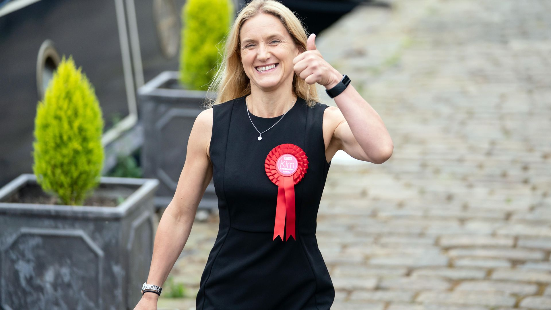 Kim Leadbeater walks along the canal path in Huddersfield after winning the Batley and Spen by-election and now representing the seat previously held by her sister Jo Cox, who was murdered in the constituency in 2016. Picture date: Friday July 2, 2021. - Credit: PA