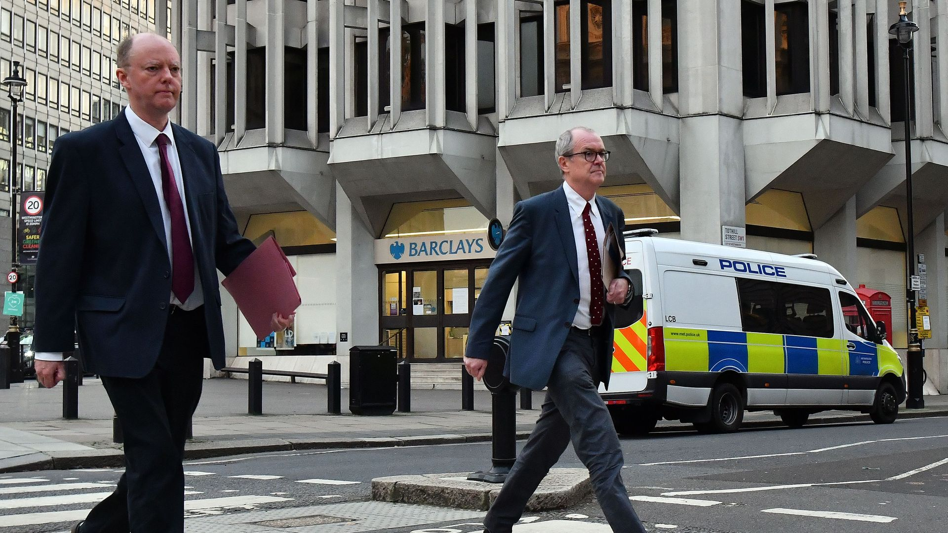Chief Medical Officer Professor Chris Whitty (L) and Chief Scientific Adviser Sir Patrick Vallance on their way to Downing Street - Credit: Photo by JUSTIN TALLIS/AFP via Getty Images