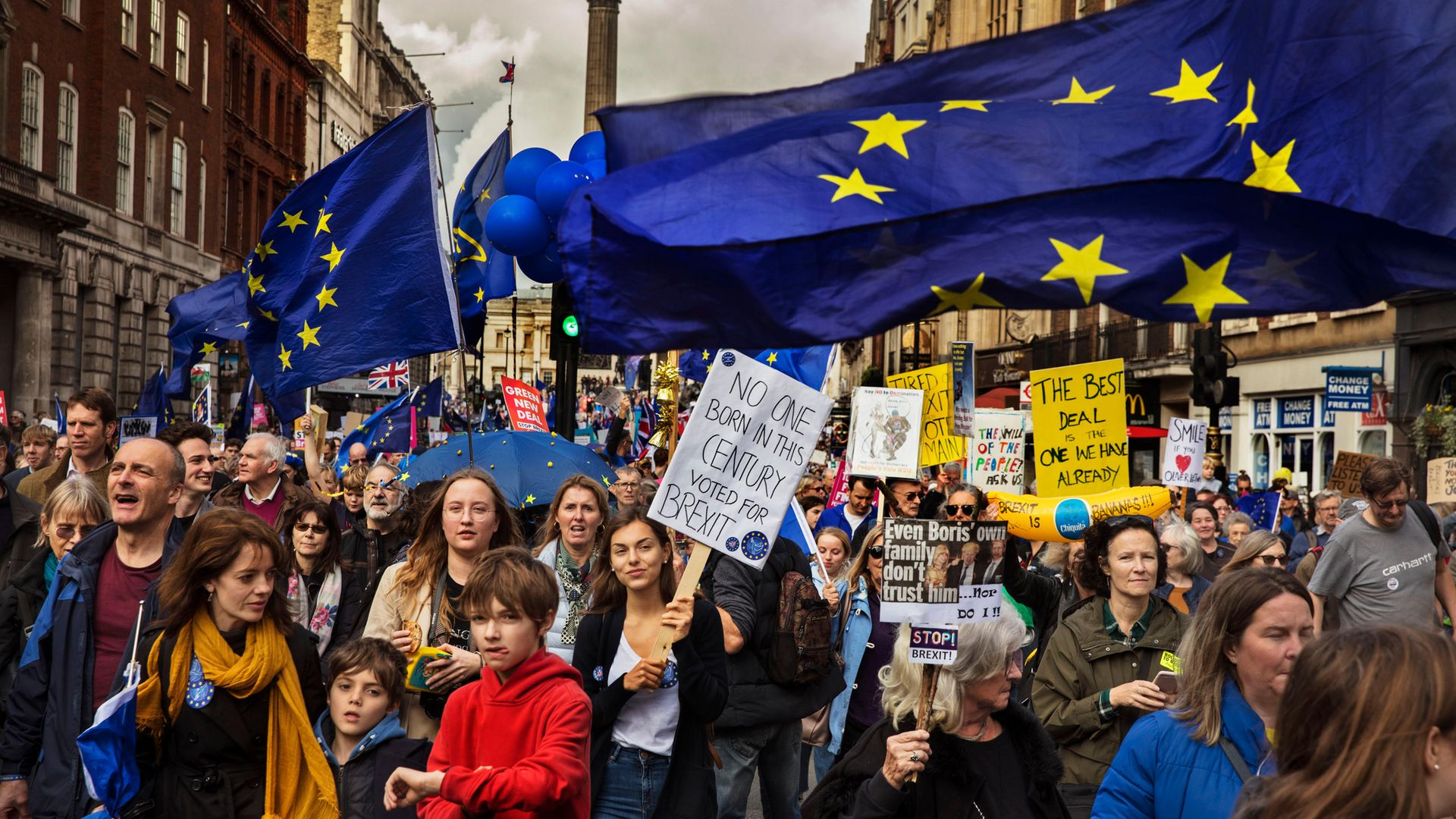 Protestors on an anti-Brexit march in central London, October 2019 - Credit: In Pictures via Getty Images