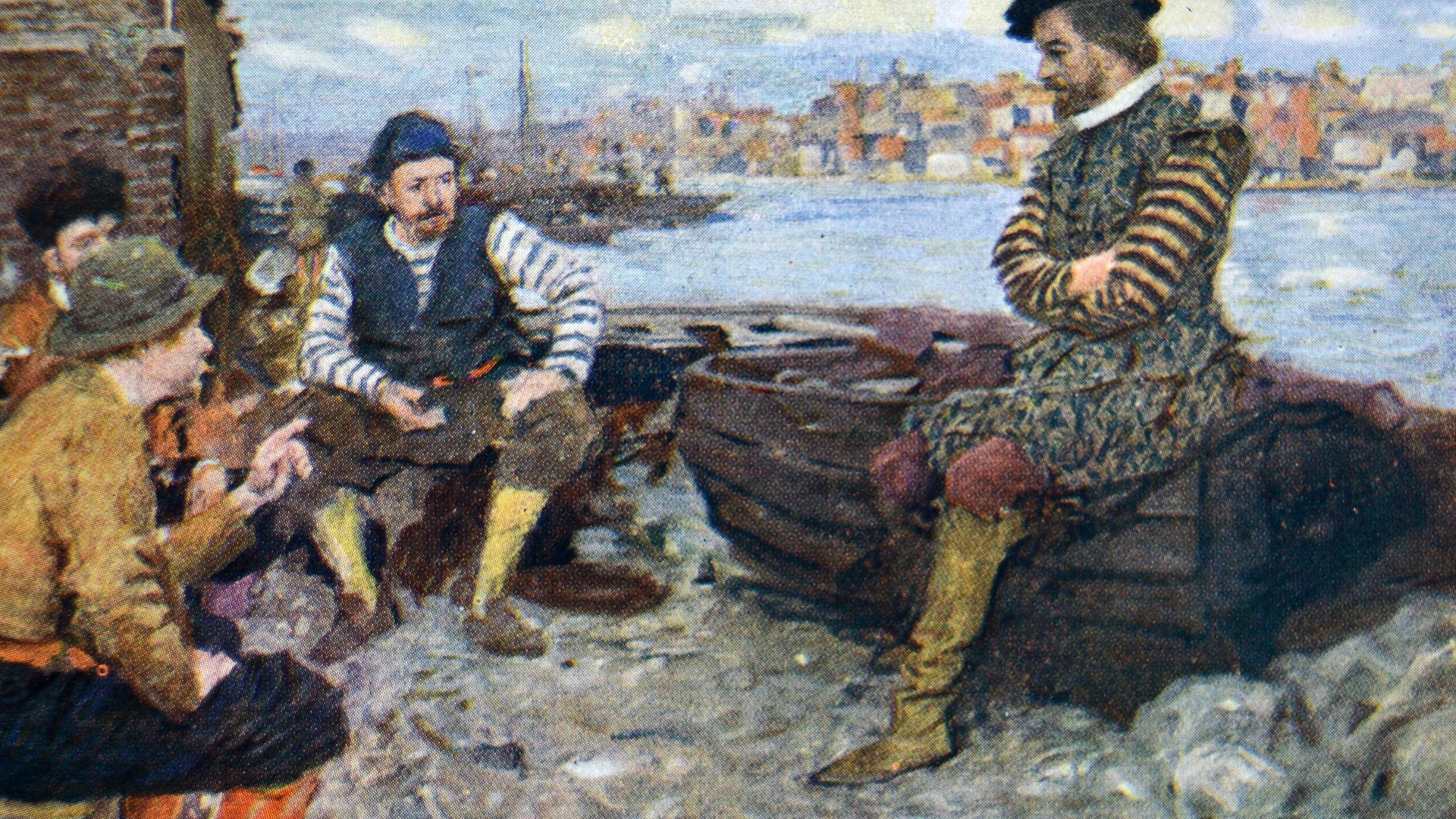 MAN OF THE PEOPLE: A painting of Shakespeare talking to some of Walter Raleigh's men, who have returned from the Spanish Main - Credit: Universal Images Group via Getty