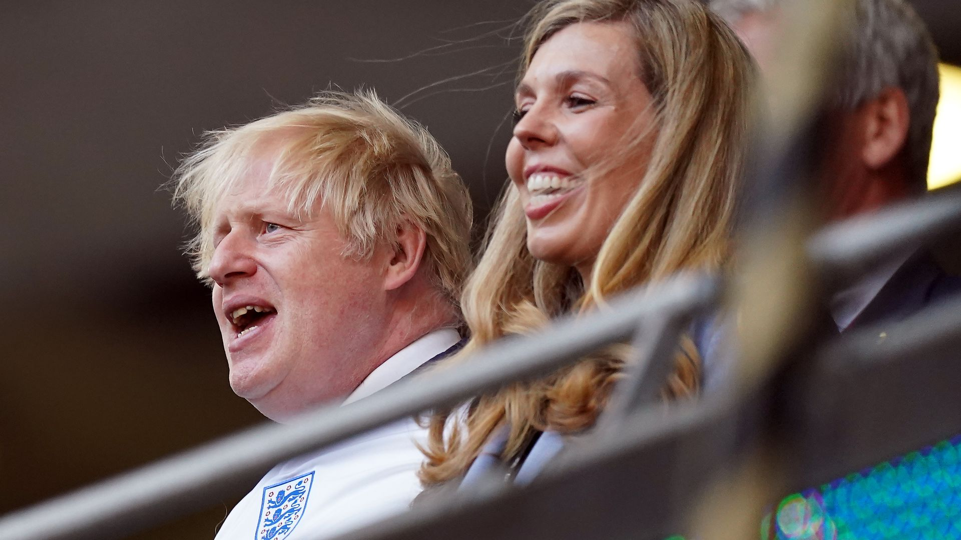 Prime minister Boris Johnson and Carrie Johnson in the stands during the UEFA Euro 2020 semi final match - Credit: PA