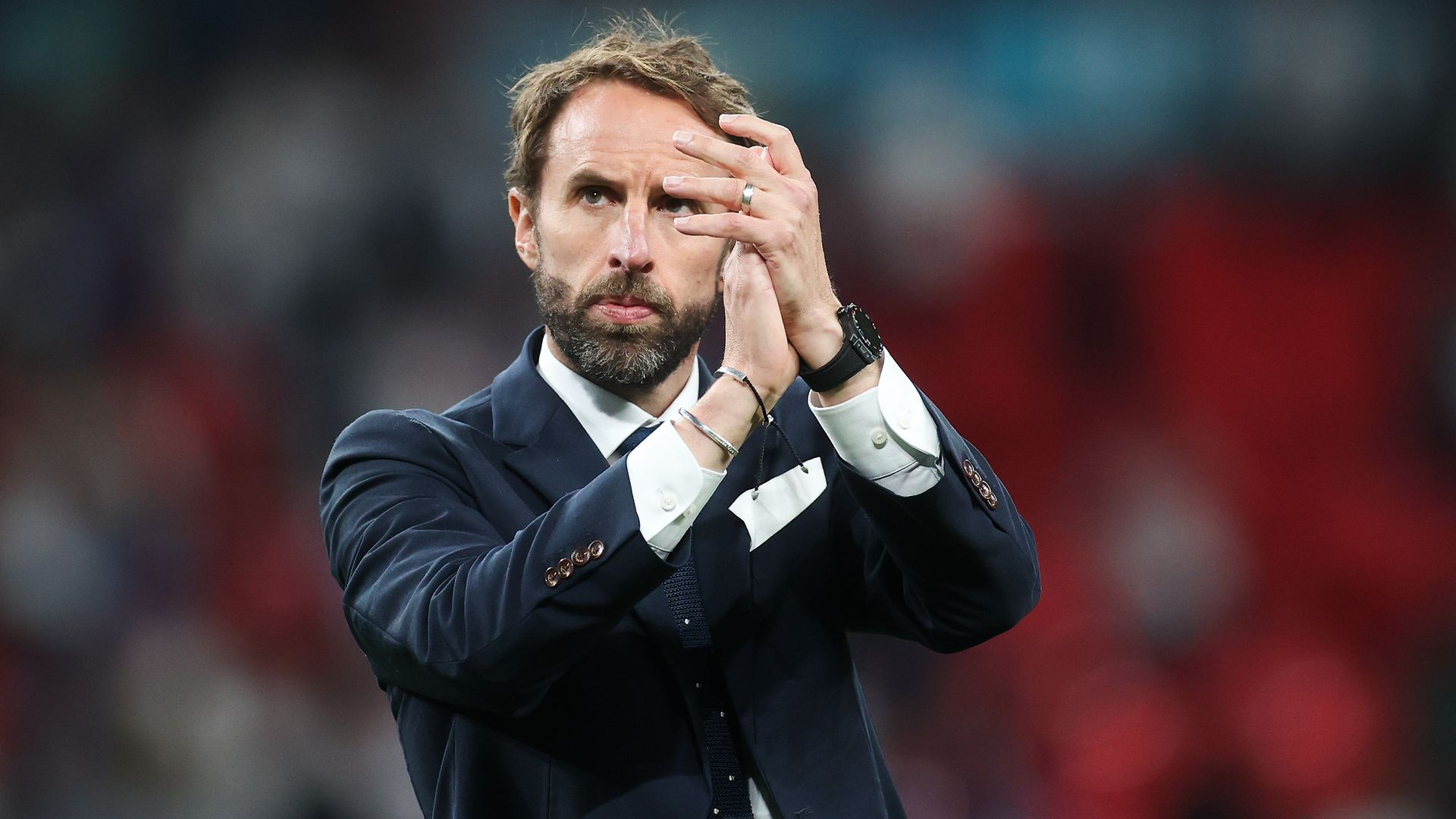 Gareth Southgate applauds fans after the England's penalty defeat at the hands of Italy - Credit: Getty Images