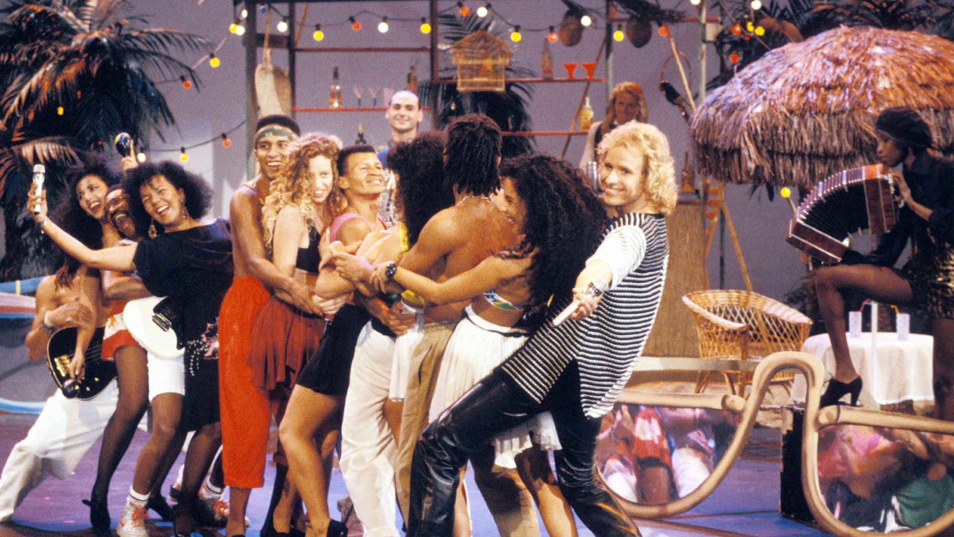 Kaoma on German TV show Wetten, dass?, September 1989 - Credit: Photo by Peter Bischoff/Getty Images