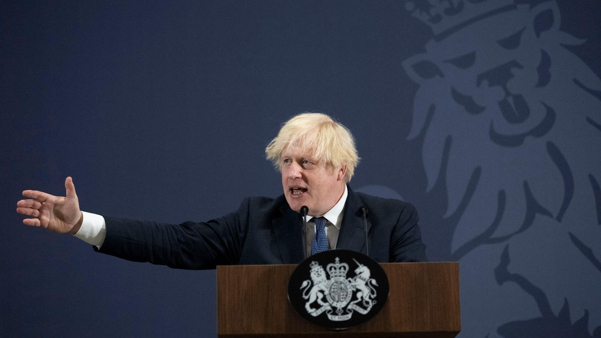 Boris Johnson gesticulates during his rambling and detail-light speech on levelling up in the regions - Credit: Photo by David Rose / POOL / AFP via Getty Images