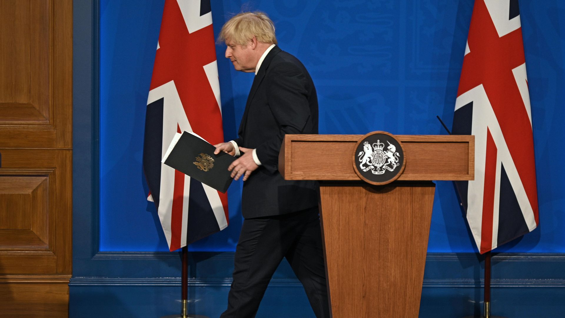 Prime Minister Boris Johnson during a media briefing in Downing Street - Credit: PA