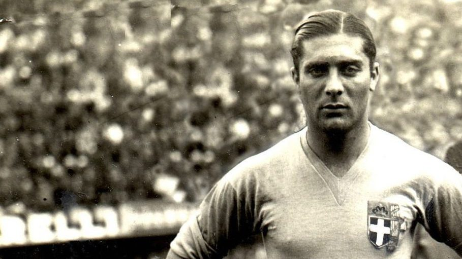 Giuseppe Meazza, arguably Italy's greatest-ever player poses for photo before a game in 1934. In that year he was named player of the tournament at the World Cup finals, won by the Italians on home soil. Credit: Alessandro Sabattini/Getty