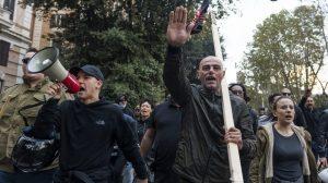 Forza Nuova (New Force) militants do the Nazi salute during an unauthorised march near Rome's San Lorenzo neighbourhood, 2018 Photo: Michele Spatari/NurPhoto via Getty Images