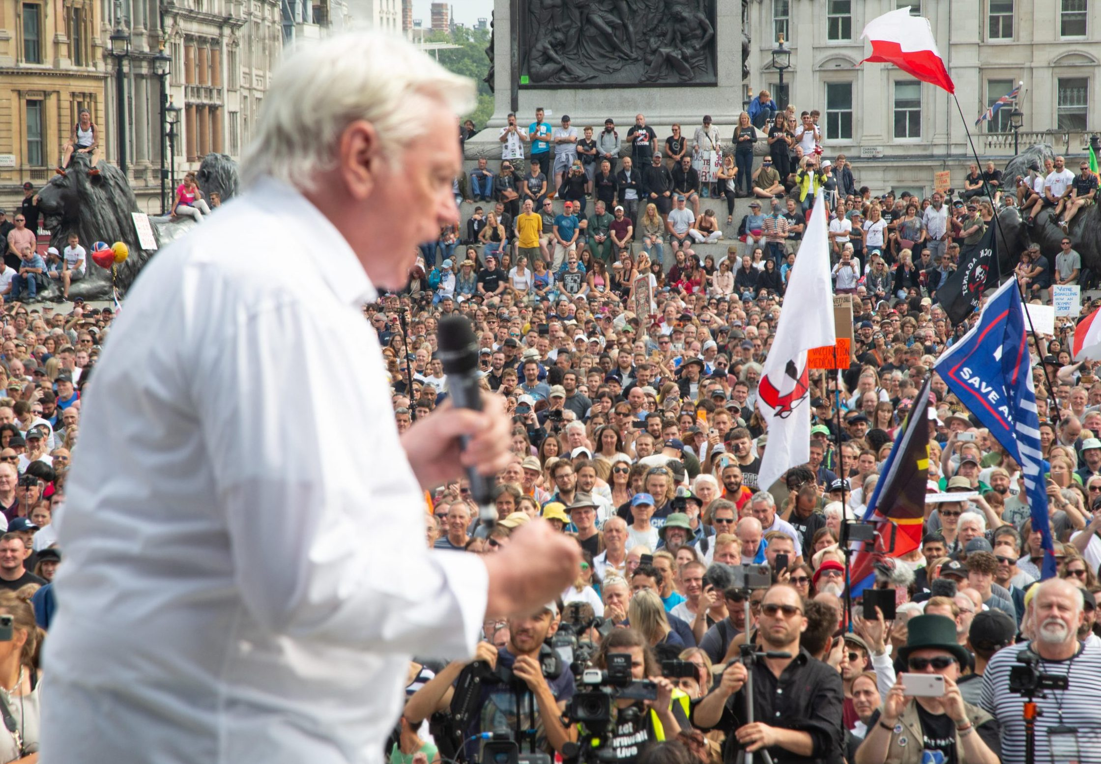 David Icke speaks at a London demo against Covid-19 restrictions. Icke has claimed that a world elite of shape-shifting reptiles includes the Queen, Tony Blair and American country singer Boxcar Willie