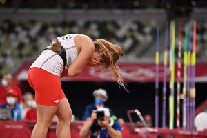 Second-placed Poland's Maria Andrejczyk reacts after competing in the women's javelin throw final during the Tokyo 2020 Olympic Games. Photo by Ben STANSALL / AFP.
