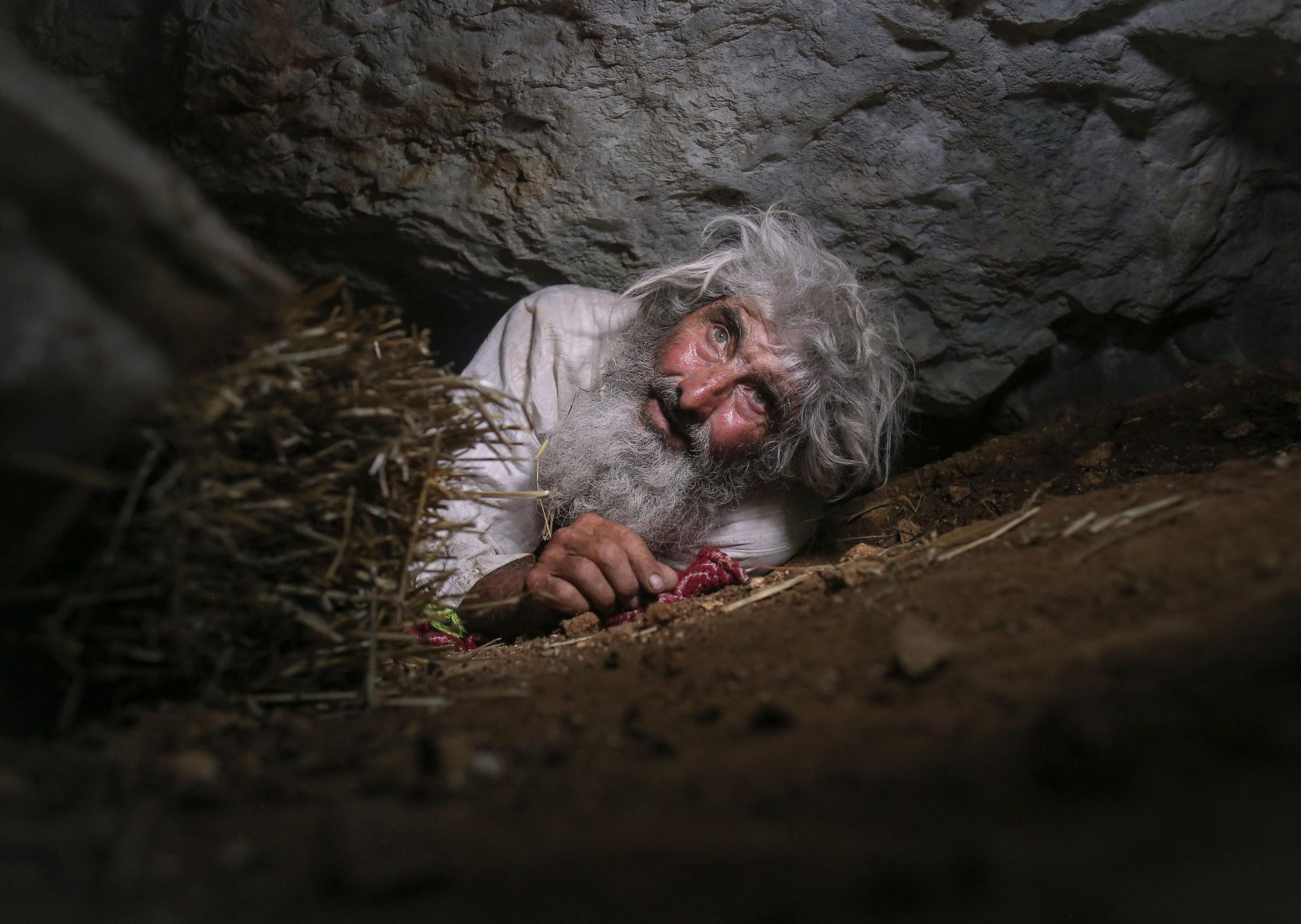 Serbian hermit Panta Petrovic in his cave in the southern Serbian city of Pirot. Photo: Oliver Bunic/AFP via Getty Images