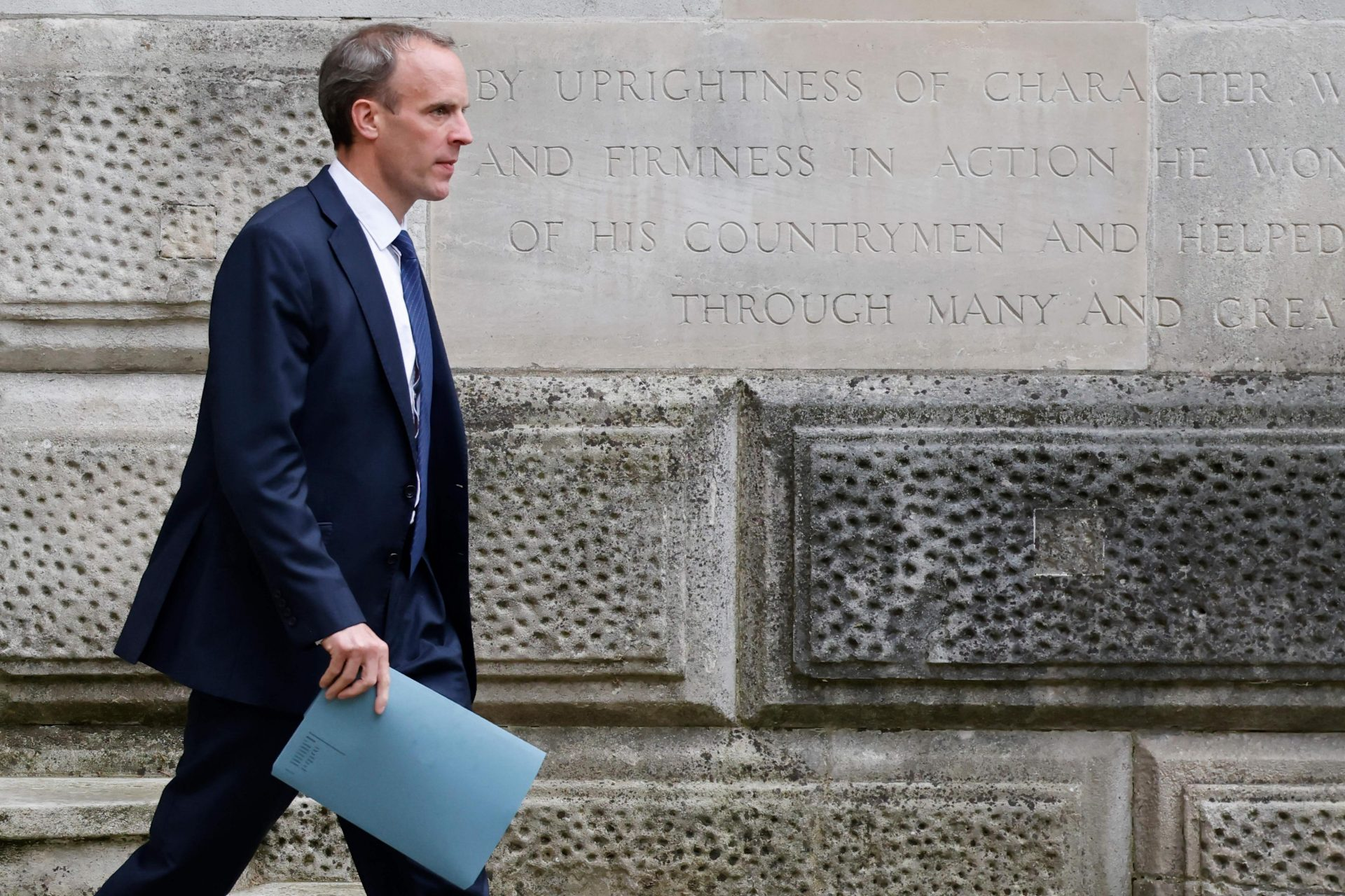 The writing is on the wall for Dominic Raab as criticism grows of the holiday he took during the American withdrawal from Afghanistan. Photo: Tolga Akmen/AFP  via Getty Images
