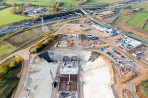 The construction site at the entrance to the HS2 Chiltern tunnel beside the M25 at Denham, Buckinghamshire. -Photo: Chris Gorman/Getty Images
