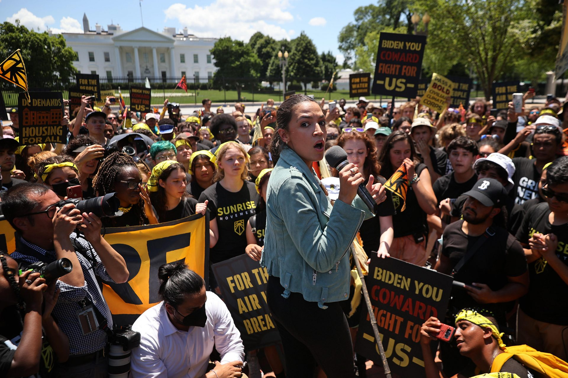 Charismatic US congresswoman Alexandria Ocasio-Cortez - seen at a rally in Washington in June 2021 - is among politicians to have attracted a dedicated and obsessional fanbase. Photo: Chip Somodevilla/Getty