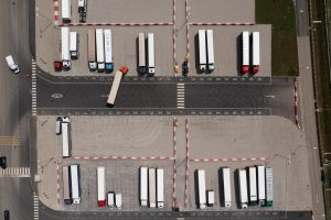 An aerial view of a lorry park near Ashford, Kent, in July 2021. Many hauliers are reporting a shortage of drivers. Photo: Getty Images.