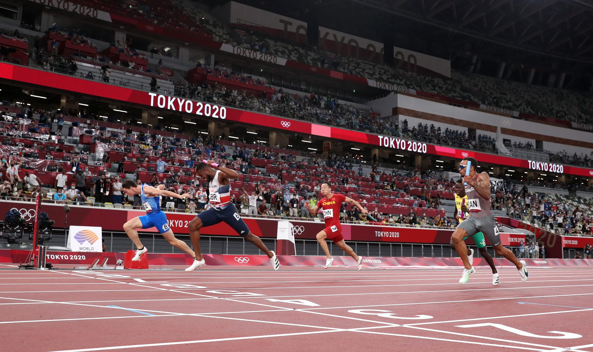 The close finish of theMen's 4 x 100m relay final at the Tokyo Olympics. Optimism helps drive Olympic success. Photograph: 2021 Getty Images.