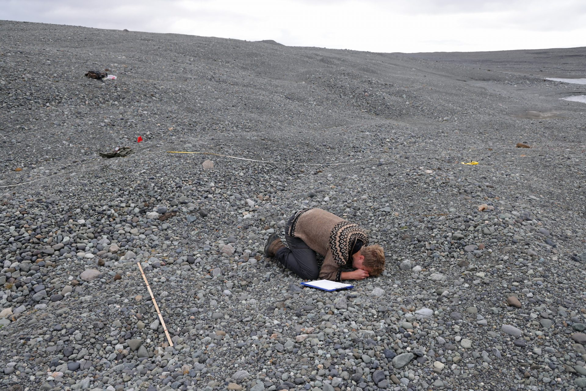 Hlynur Steinsson uses a magnifying glass to examine a tiny plant growing on mostly barren and gravel-covered land left behind by the receding Breidamerkurjokull glacier near Hof, Iceland. Photo: Sean Gallup/Getty Images.