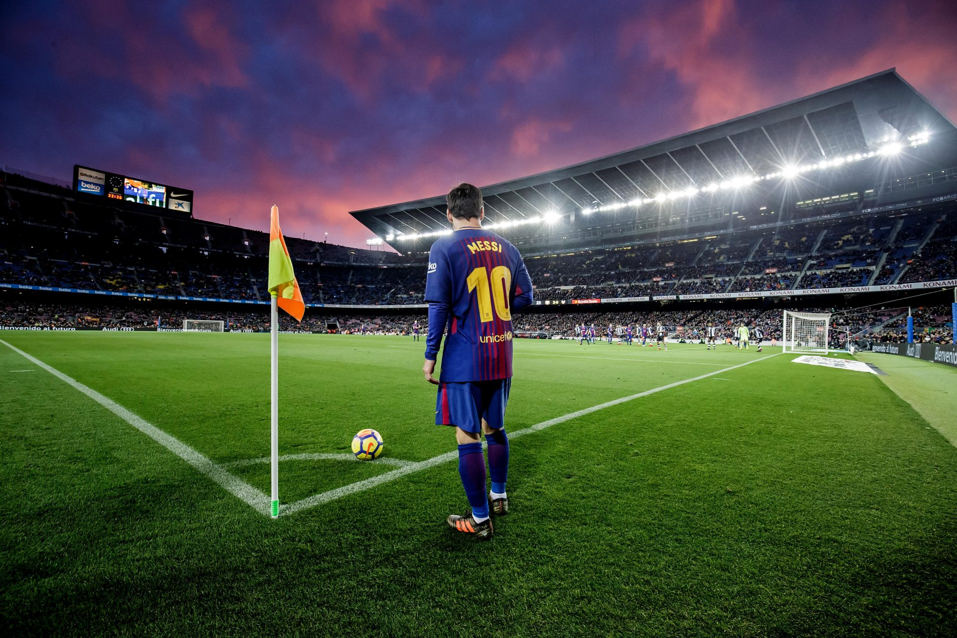 The king in his castle: Lionel Messi prepares to take a corner at the Camp Nou. In 2011/12, he scored a club-record 46 home goals, 35 of them in La Liga. Photo: Laurens Lindhout/Soccrates/Getty Images
