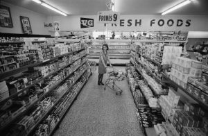 A woman shopper in a supermarket in 1968. Britain's first fully self-service store had opened only 20 years earlier. Photo: William Lovelace/Daily Express/Getty Images