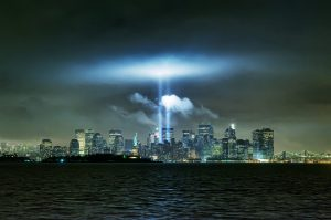 The Manhattan skyline with a tribute in lights for the victims of the 9/11 attacks. Photo: Steve Kelley/Getty Images.