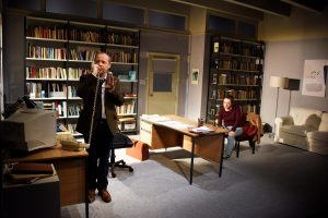 Playwright David Mamet makes the wrong calls in Oleanna at the Arts Theatre. Pictured are Jonathan Slinger and Rosie Sheehy. Credit: Nobby Clark