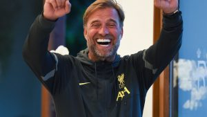Liverpool manager Jurgen Klopp manager celebrates during a table tennis tournament at their pre-season training camp in  Evian-les-Bains, France - Credit: Photo by John Powell/Liverpool FC via Getty Images