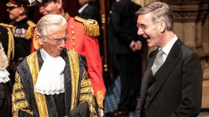 Jacob Rees-Mogg shares a joke with former speaker of the House of Lords Norman Fowler