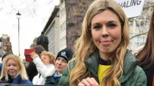 Carrie Johnson, the PM's conservationist wife, during an anti-whaling protest outside the Japanese Embassy in central London.