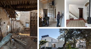 The barn project is detailed in these photos: (clockwise) How it looked at the start; Los muchachos at work; Porcelain tiles laid; The nearly finished article. Photos: Peter Barron