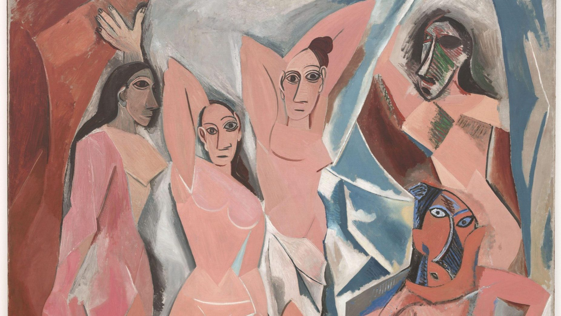 Picasso's Les Demoiselles d'Avignon, 1907. Inset, Woman With Clasped Hands (study for Les Demoiselles d'Avignon), also 1907 and a primitive Iberian head of a man from Spain's National Archaeological Museum. Credit: MOMA, New York City/ Photos: Mathieu Rabeau/Ángel Martínez Levas