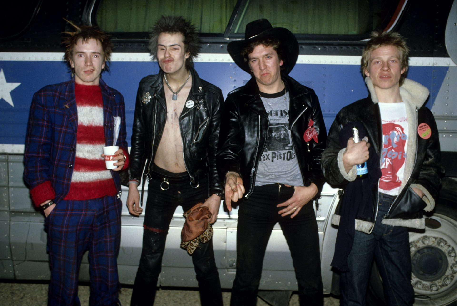 Future legal foes John Lydon/Johnny Rotten, Steve Jones and Paul Cook with bassist Sid Vicious (second left) in America on what proved to be their final tour, January 1978. Credit: Richard E Aaron/ Redferns
