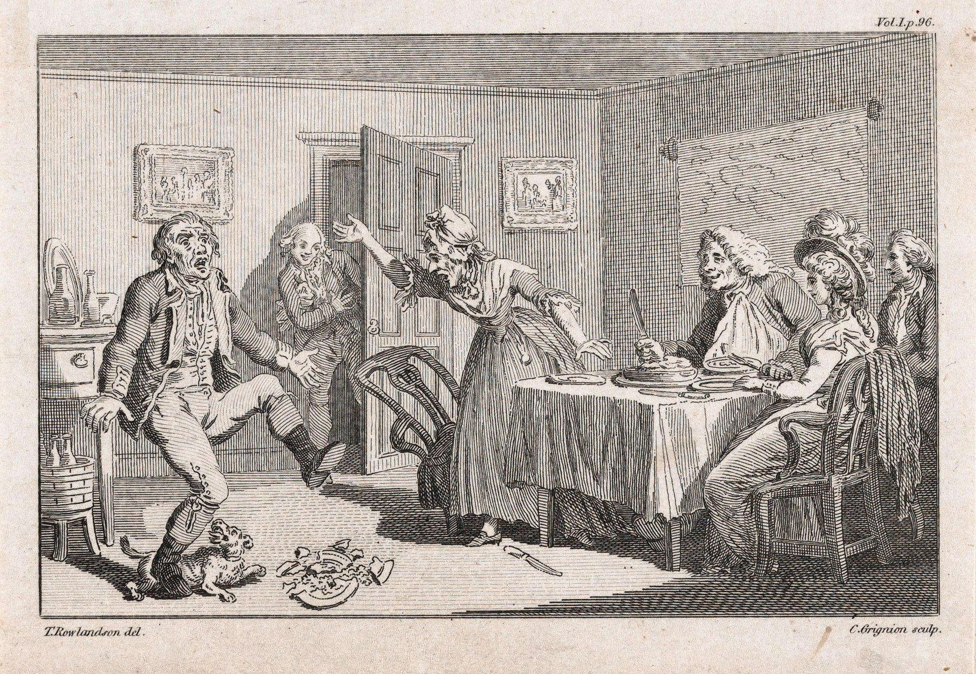 Men dance in a coffee touse. Below, Tobias Smollett  Credits: Sepia Times/Universal Images Group via Getty Images