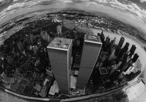 Aerial of Twin Towers (World Trade Center) and New York City and surrounding boroughs of New York City in 1976. Photograph: Brownie Harris/Getty Images.