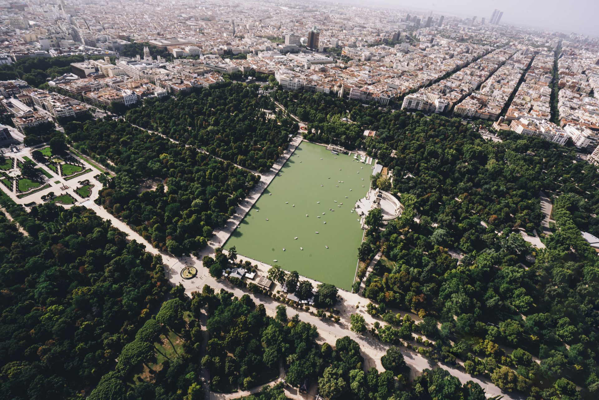 An aerial view of Madrid's Jardines del Gran Retiro area, dominated by the 1.4 km2 (350 acre) El Retiro park. Earlier this year, it was declared a UNESCO World Heritage Site, together with the nearby Paseo del Prado. Photo: Carrastock/Getty Images