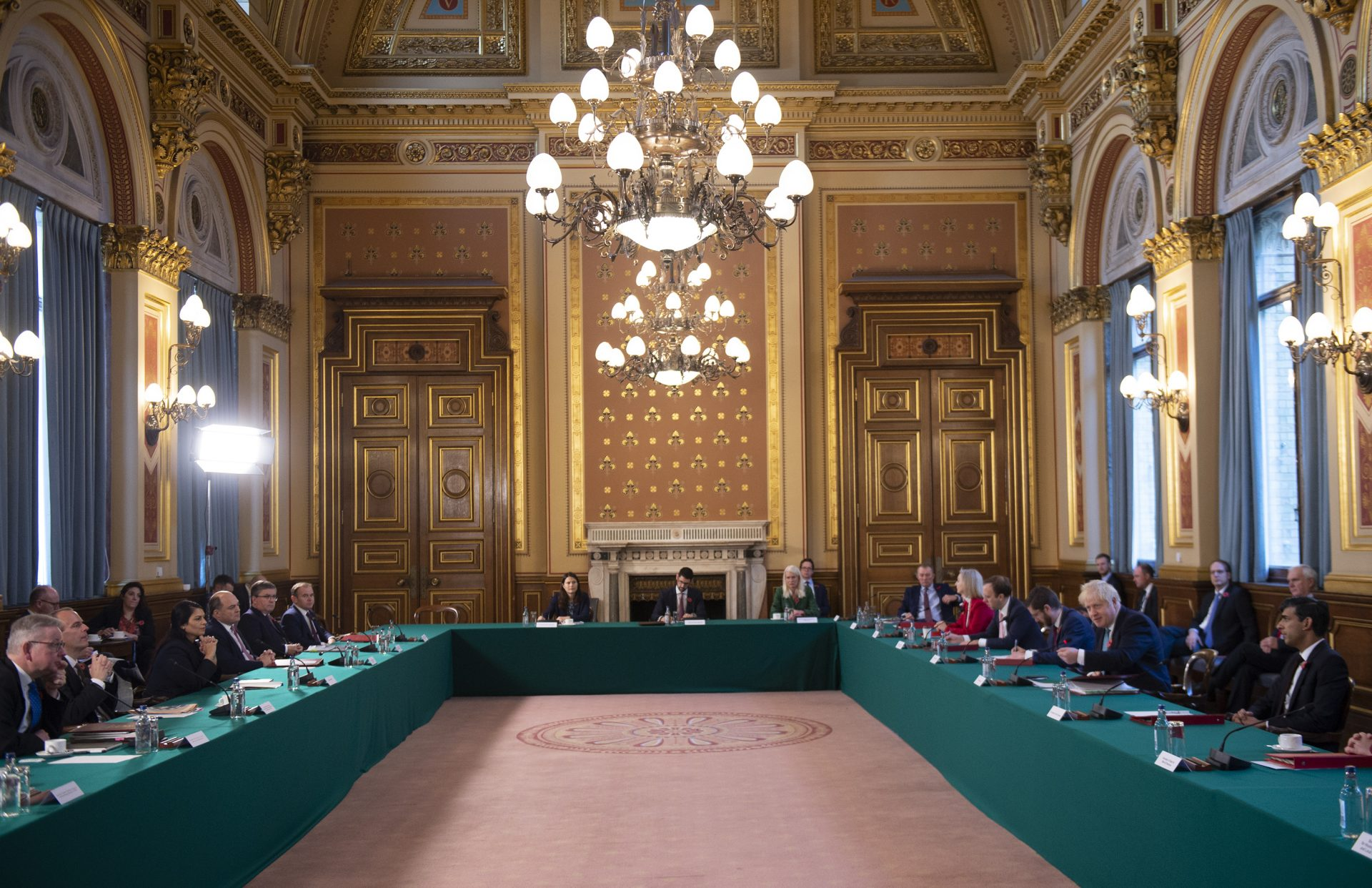 Boris Johnson chairs a socially-distanced Cabinet meeting at the foreign office last November. Photo: Eddie Mulholland - WPA Pool/Getty Images