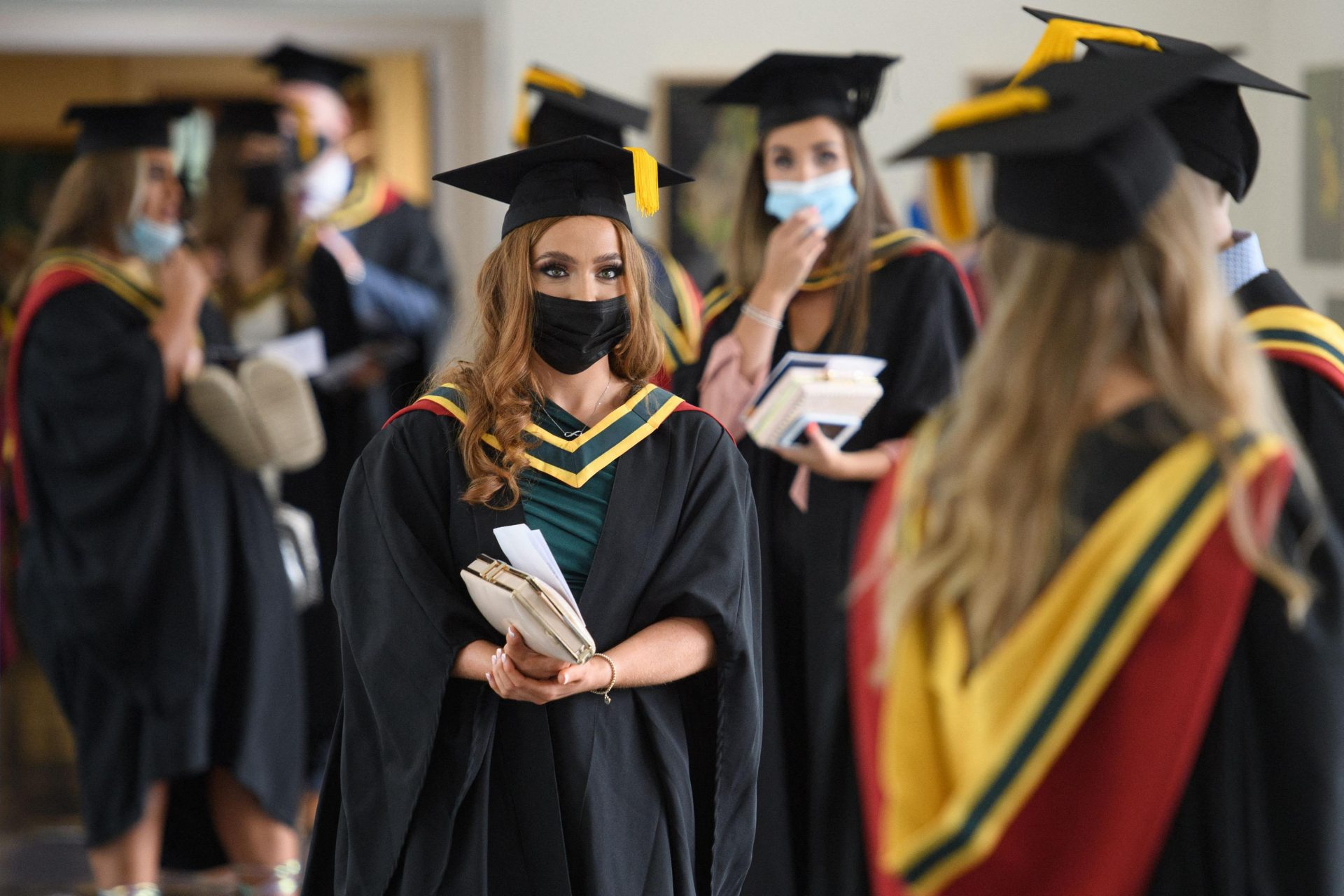 Students at their graduation ceremony. Photograph: Getty Images.