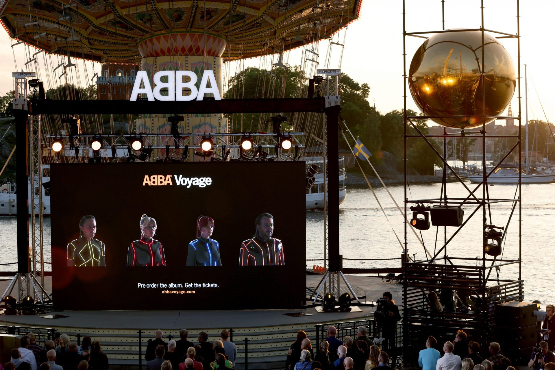 Abba's Abbatars are seen on a display during their Voyage event at Grona Lund, Stockholm. Photograph: Getty Images.